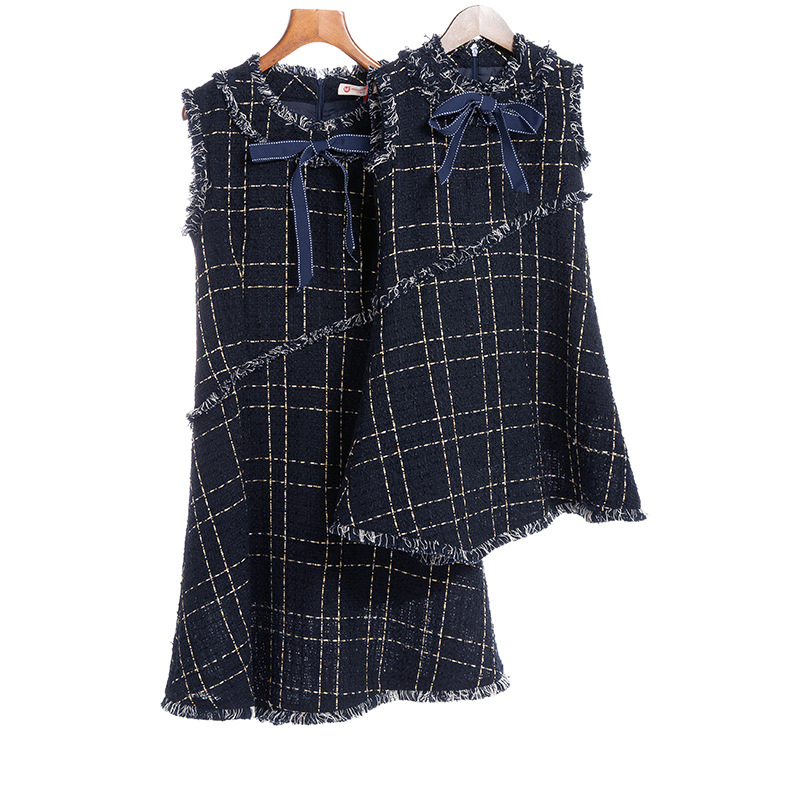 New Mother Daughter Dress Bow Plaid Family Matching Outfits Navy O neck Fashion Mom and Daughter Dress Women Kids Clothes CA531