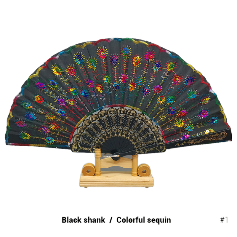 6 PCS LOT Foldable Peacock Shining Sequins Hand Fan Bead Black Fabric Decor