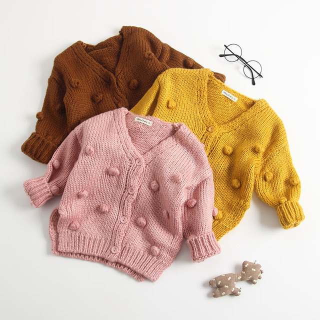 2018 Autumn New Arrival cotton pure color fashion all match Knitted Hand made Cardigan Sweater Coat for cute sweet baby girls