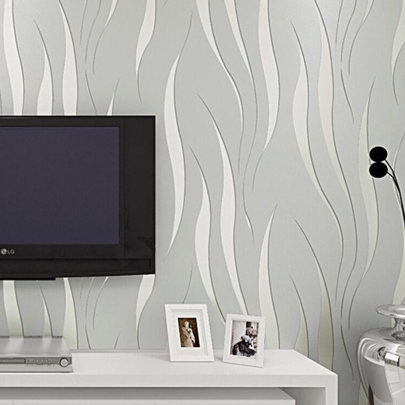 TV Sofa Background Wall Paper Home Bedroom Improvement Non Woven Luxury 3D  Wave Flocking Wallpaper Rolls Living Room