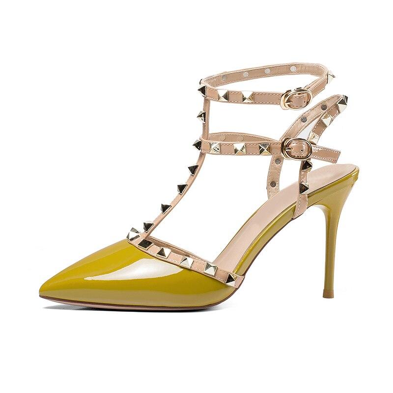 Sapatos Sandales Valentine Souliers Nouveautés Hauts Sexy Femmes kaki Clouté Chaussures À Foncé Rivets Boucle Talons Soirée 2018 Punk De Gladiateur Kaki 7wqT75E
