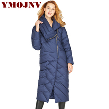 YMOJNV Fashion 2017 Winter Womens Down Jackets Asymmetric Large Lapel Long Thick Warm Ladies Coat Oversized Down Parka Female