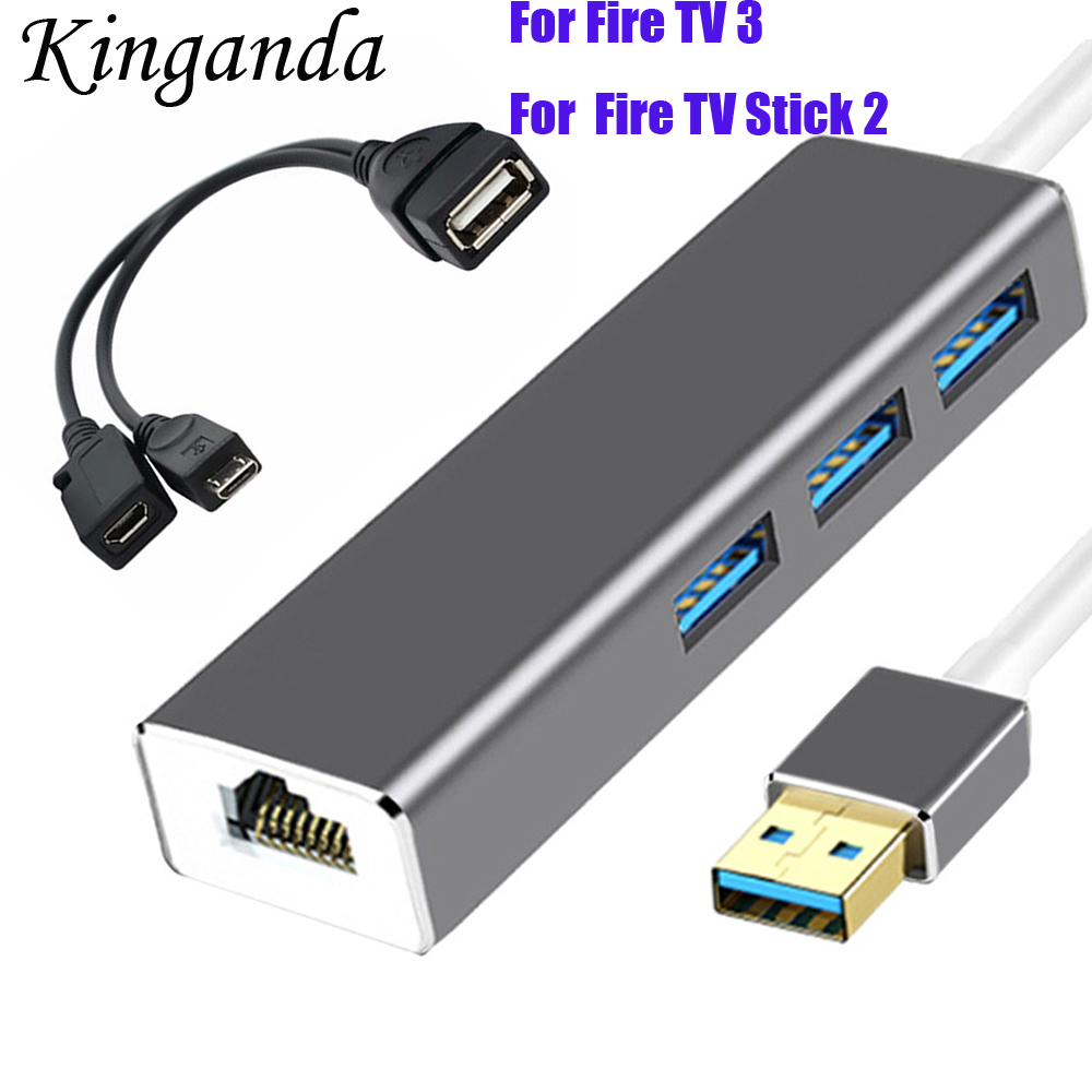 New USB Ethernet USB 3.0 2.0 To RJ45 HUB For Fire TV 3 Stick 2 Android TV Set-top Box Ethernet Adapter Network Card USB Lan