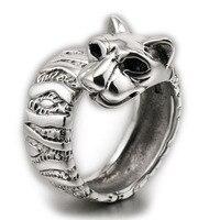 Леопард Большая Кошка Твердые Стерлингового Серебра 925 Кольцо 8E002 Свободный Размер