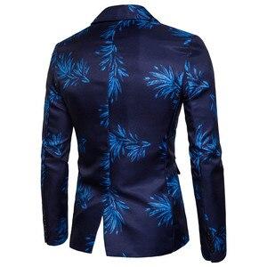 Image 4 - New Brand Mens Fashion Blazer Floral Printed Slim Fit Blazer Masculino Single Button Mens Blazer And Suit Jacket Outerwear Coat