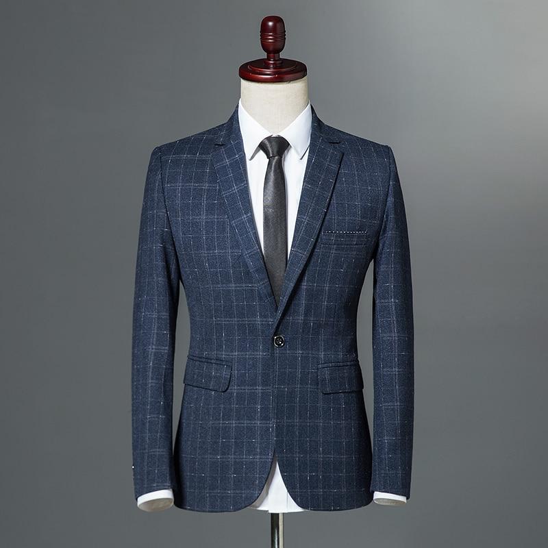 2018 Autumn Winter Classic Men Plaid Blazer Single Button Slim Fit Blue Vintage Business Casual Jacket Wine Red Navy blue M 3XL