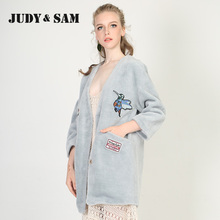 Grey-Blue Sheep Fur Coat for Female V Neck Lamb Fur Jacket for Ladies