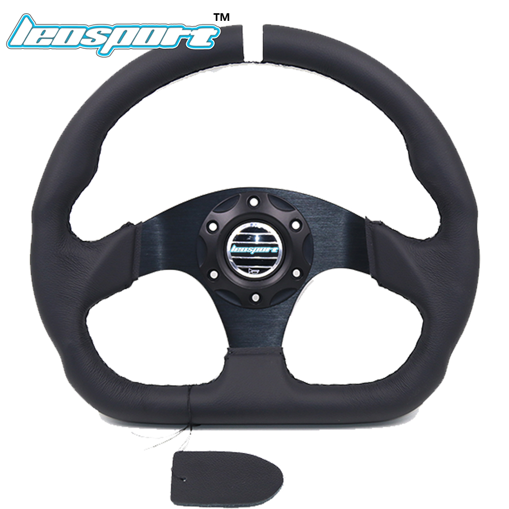 Leosport-13 (330mm) For racing Steering Wheel really Leather black line Steering Wheel Flat Racing Steering Wheel цена