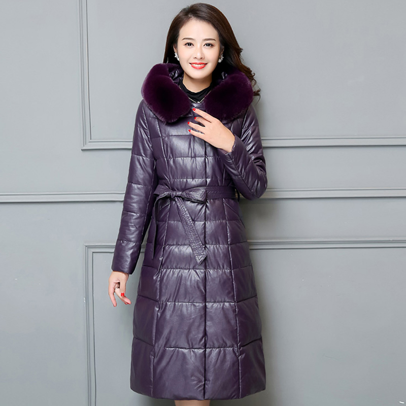 264cb765a1 2018 Fashion Ladies Leather Jacket Winter Long Cotton Down Jacket Elegance  Plus Size 6XL Hooded Coat Warm Women Parkas Outwear-in Leather   Suede from  ...