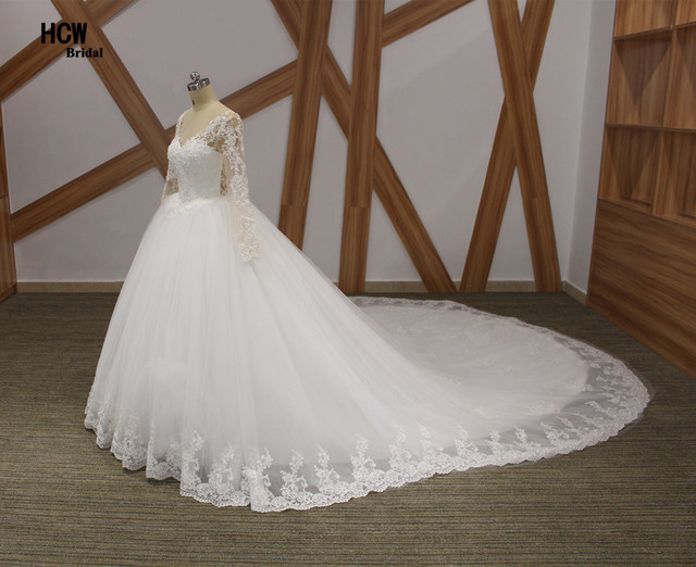 Romantic Long Sleeve Royal Train Wedding Dress 2018 V Neck See ...