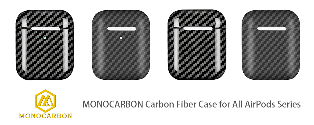 MONOCARBON Genuine Carbon Fiber Case Compatible with AirPods 1 Charging Case Apple Headphone Case Box Earphone Protective Slim Case Glossy Finishing
