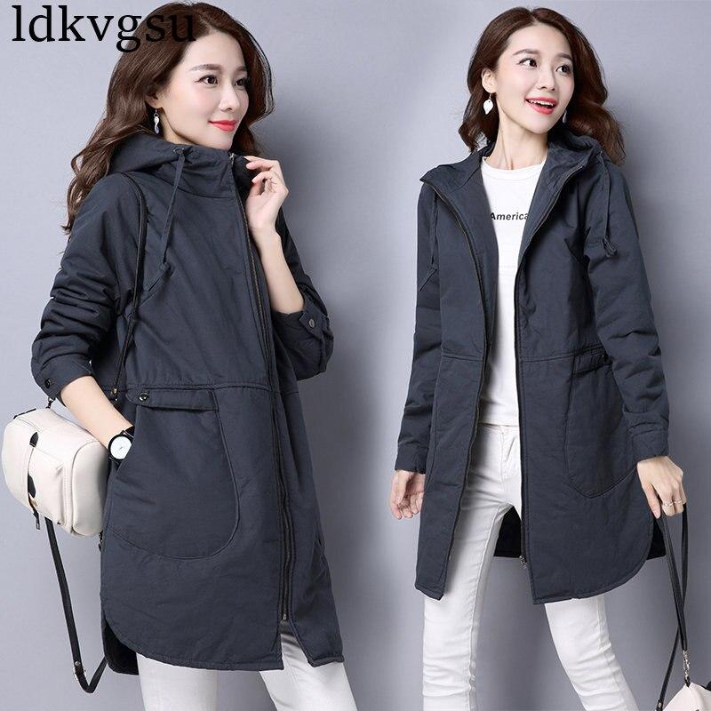 2019 Large Size Windbreaker Jacket Female Long Korean Slim Autumn Winter Coat New Casual Loose Cotton