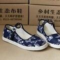 Spring Autumn  Retro Style Shoes Women Old Peking Flats Chinese Flower  Pattern Canvas Linen Shoes sapato feminino Big Size 42