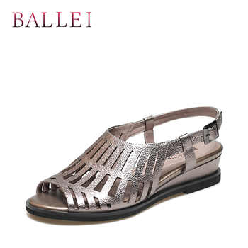 BALLEI Vintage Woman Summer Sandal High Quality Genuine Leather Back Strap Soft Wedges Shoes Solid Luxury Casual Lady Sandal S93 - DISCOUNT ITEM  55% OFF All Category
