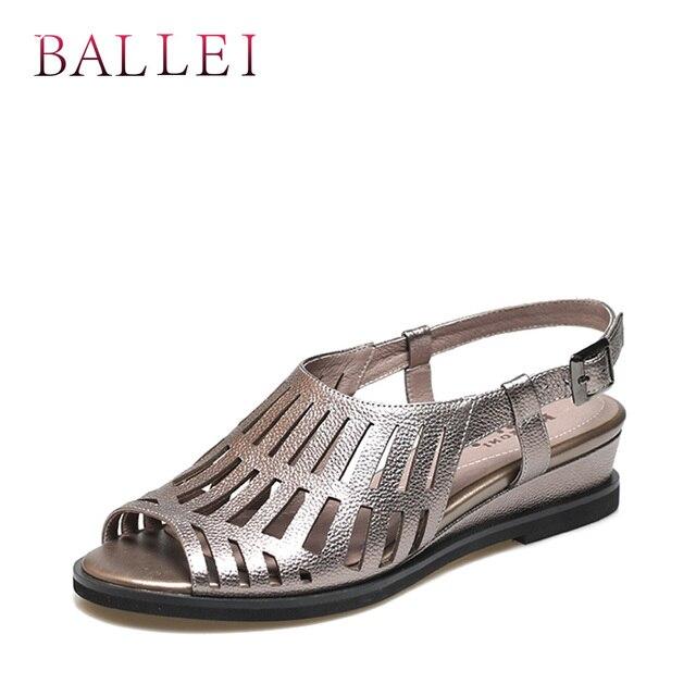 BALLEI בציר אישה קיץ סנדל עור אמיתי באיכות גבוהה חזרה רצועת רך טריזי נעלי יוקרה מוצקה מקרית ליידי סנדל S93