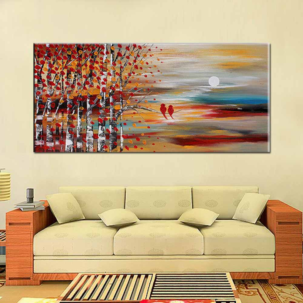 Hand Painted Modern Abstract Wall Art Thick Impasto Tree Bird ...