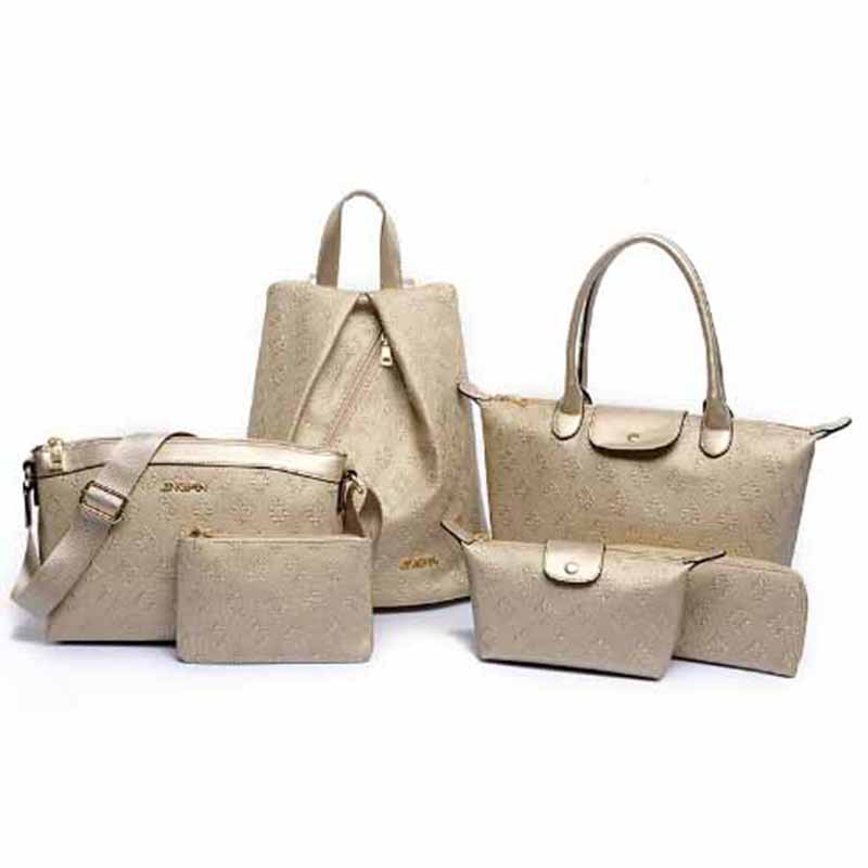 2018 New Fashion Office Lady Messenger Bag 6 Pieces Per Set Shoulder Luxury Handbag All Match Tote Embossing In Top Handle Bags From Luggage