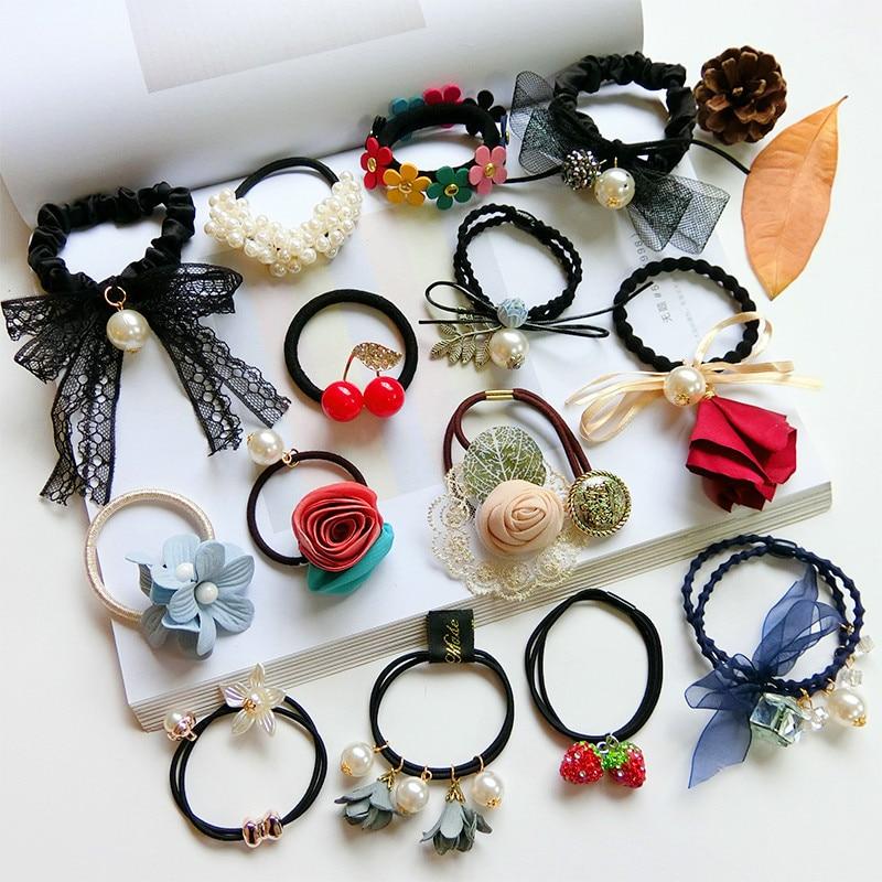Korean Popular Hair Rope Scrunchies Women Girls Elastic Hair Rubber Bands Accessories For Women Girls Ties Hair Ring Headwear