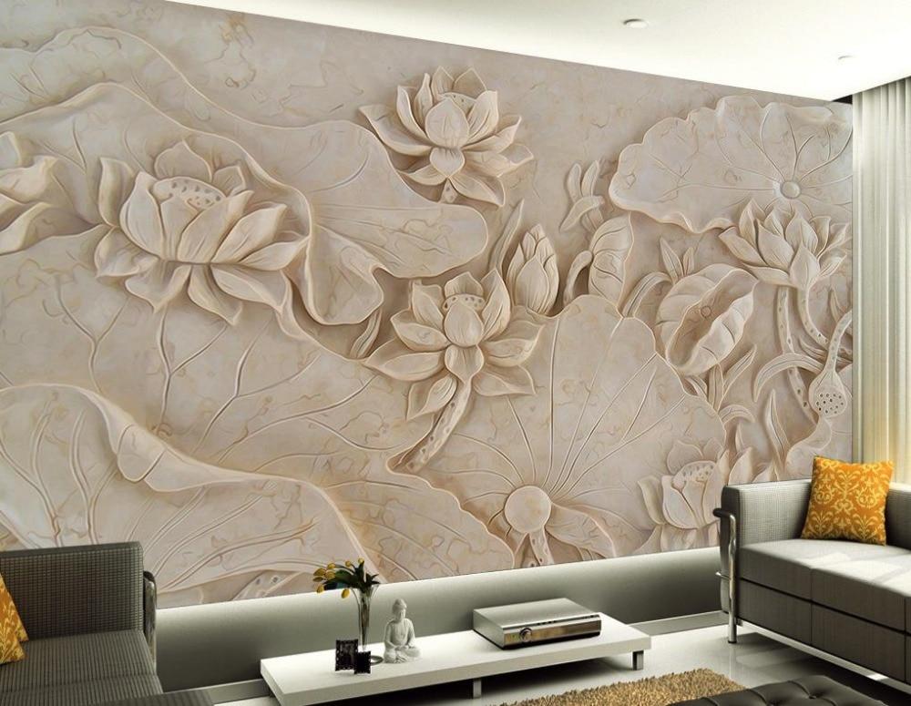 Custom 3d wallpaper lotus relief mural design 3d murals for Designer mural wallpaper