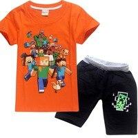 2018 garçons et filles costumes Minecraft Motif Costumes Vêtements À Capuche D'été enfants Minecraft T-shirt Coton pantalon de Bande Dessinée costume