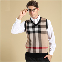 New Men S Brand Wool Knit Vest V Neck Fashion Casual Basic Sweater Pullover For Autumn