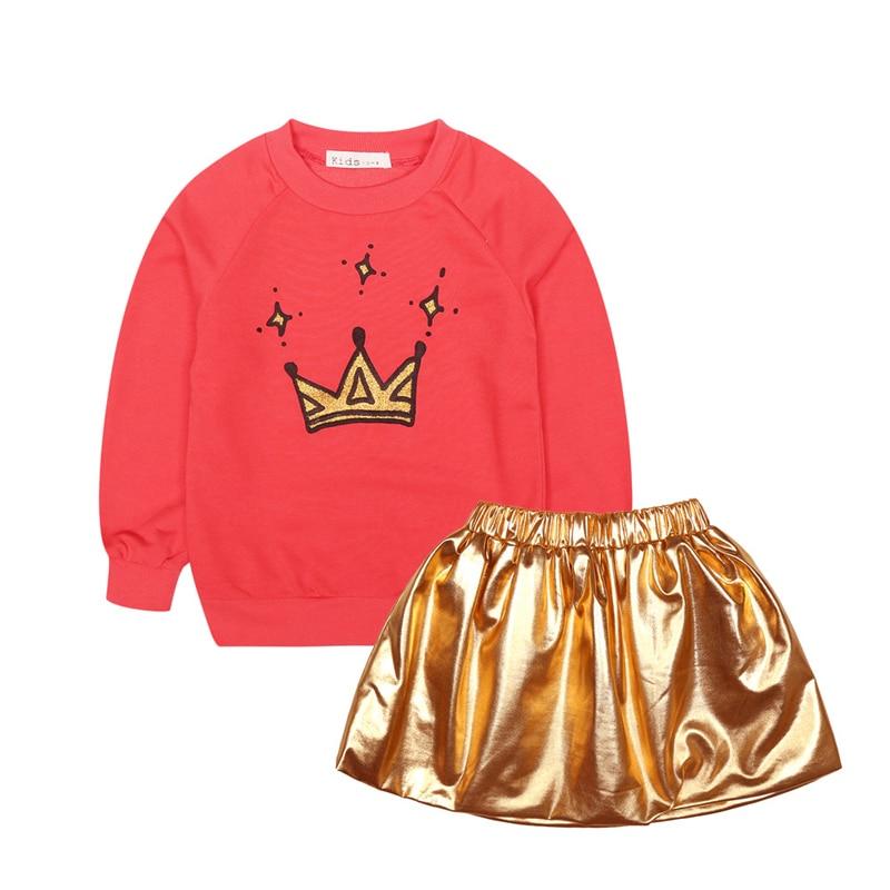 2017 Girls Clothing Sets Spring Autumn Sportswear Long Sleeve Crown Kids Clothes Children Sport Suits Tshirt+Skirt Toddler 2PCS