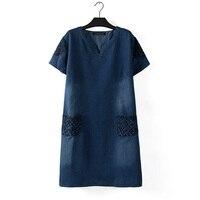 plus size Vestidos Spring Summer Elegant Women Casual Short Sleeve Slim Denim Mini Dress Tops Ladies Sexy Blue Dress