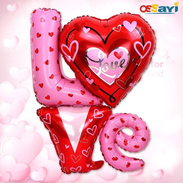Big Size 80*90cm Wedding Foil Ballons Valentine Love Letter Foil Balloons  Pump Helium Balloon