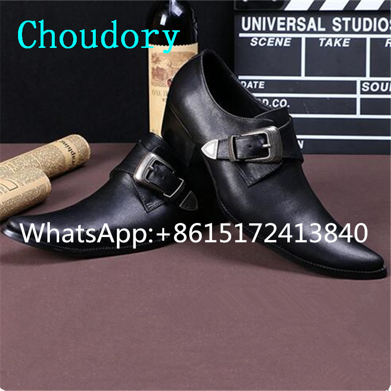 Choudory Pointed Toe Hasp Mens Shoes Casual Genuine Leather Height Increasing Med Heel Solid Fashion Designer Mens Dress Shoes