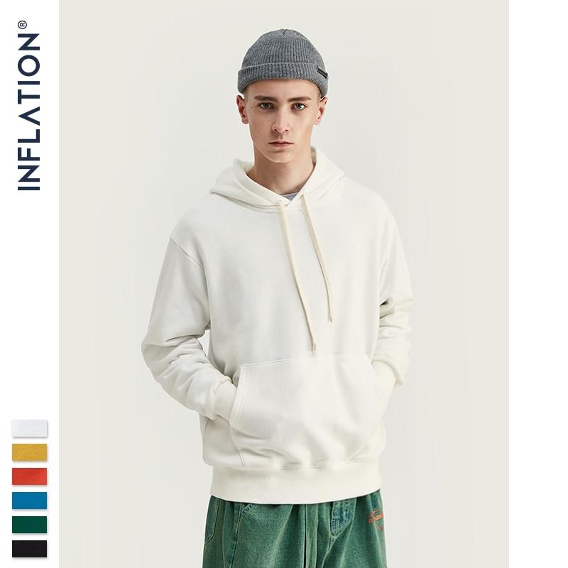 INFLATION Men Streetwear Solid Hoodies Men Hoodies Sweatshirts 2020 AW Fashion Style Cotton Men Hoodies 9602W