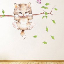 Cute Cat Butterfly Tree Branch Wall Stickers for Kids Rooms Home Decoration Cartoon Animal Decals DIY Posters PVC Mural Art