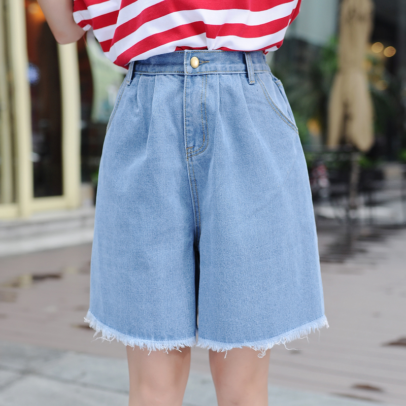 High Waist Denim   Shorts   Size 3XL Female   Short   Jeans for Women Half Long Summer Ladies Hot   Shorts   Solid Tassel Denim   Shorts