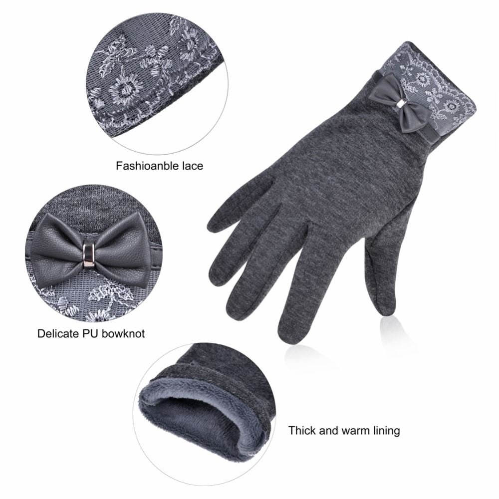 f01b580d8 Vbiger Women Gloves Thick Touch Screen Driving Gloves Bowknot Winter Warm  Mitten Fashion Full finger Solid Elasticity Gloves-in Women's Gloves from  Apparel ...