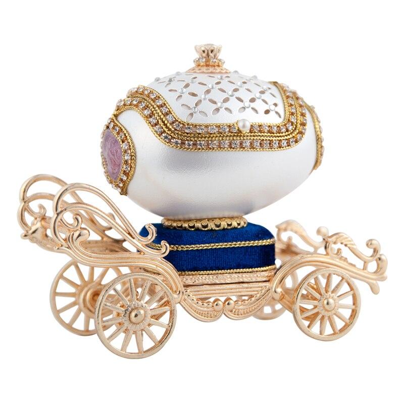 Oeuf chariot boîte à musique pour cadeau présent princesse amour fille boîte à musique boîte à musique coquille d'oeuf conception de mariage livraison gratuite