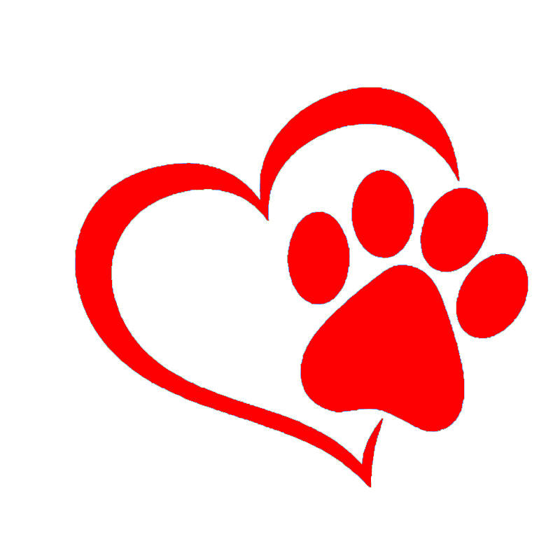 Lovely heart shaped dog cat paw print car sticker for for Heart shaped decorations home