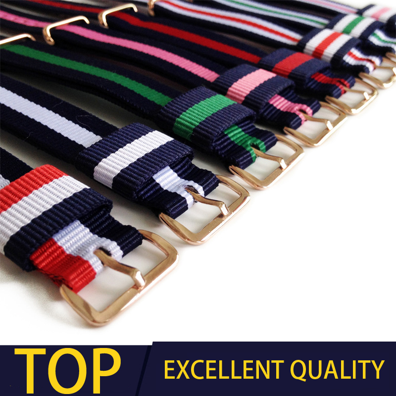 ot01 Top Quality luxury watchband 18/20mm colorful nylon leather strap available for daniel wellington watch dw mujer watch