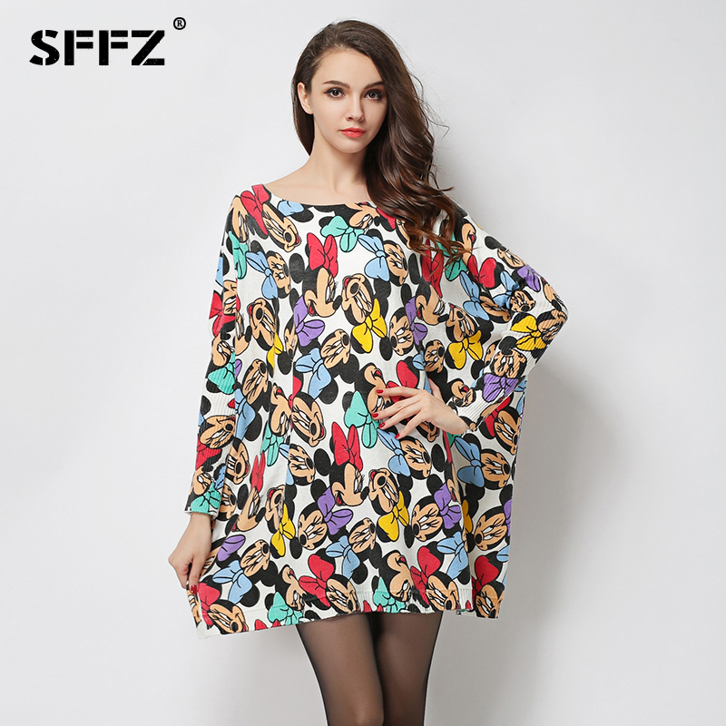 SFFZ Autumn Women Loose Dress Sweaters 2018 New Mickey Printed Cartoon Pattern Knitting Batwing Sleeves Oversized Pullover 6015