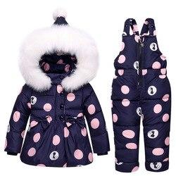 ¡Novedad de 2018! abrigo de invierno para bebé, traje de nieve con lazo y lunares, plumón de pato para niñas, ropa para la nieve, sudaderas con capucha monos, chaqueta