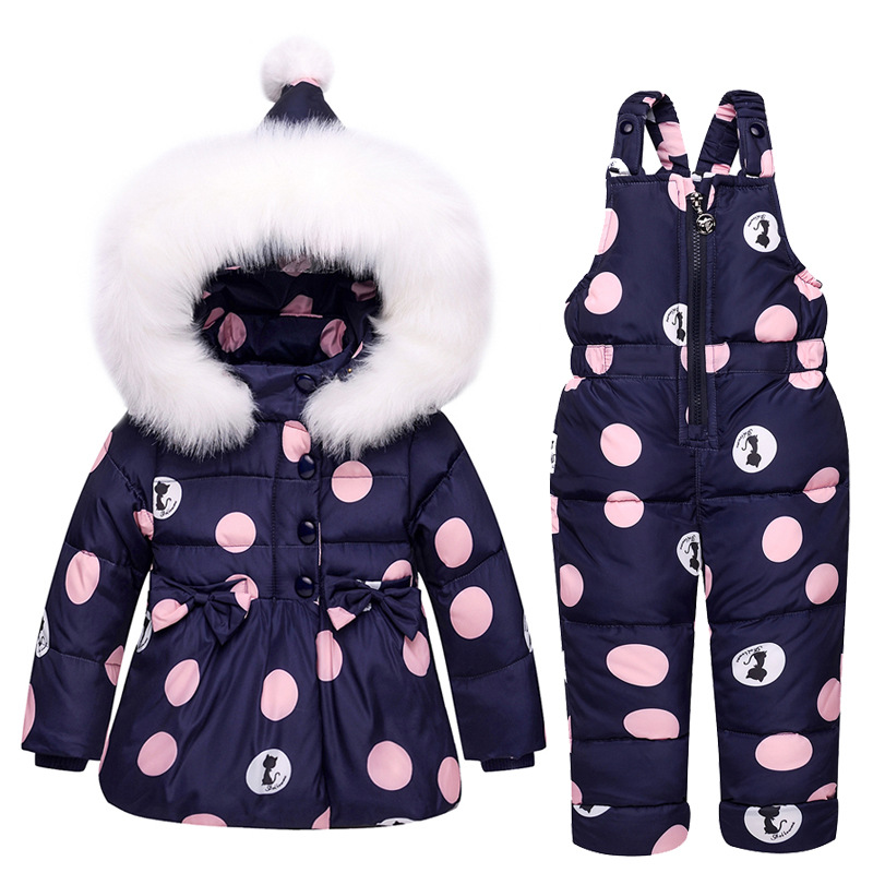2018 New Infant Baby Winter Coat Snowsuit Bowknot Polka Dot Duck Down Toddler Girls Outfits Snow Wear Jumpsuit Hoodies Jacket