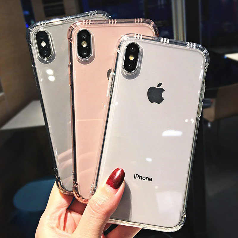 Fashion Transparent Shockproof Bumper Anti-knock Phone Case For iPhone X XS XR XS Max 8 7 6 6S Plus Clear protection Back Cover