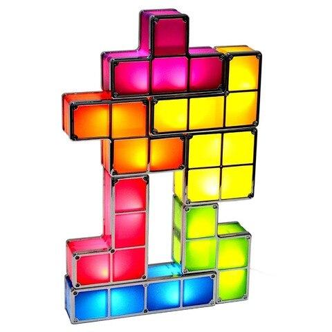 7 cores diy tetris quebra cabeca luz