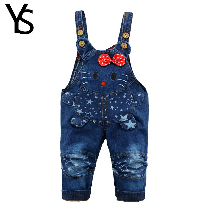 9M 24M Baby Girl Clothes Bebe Boy Overalls Hello Kitty Long Pants Cartoon Kwaii Jumpsuit Denim