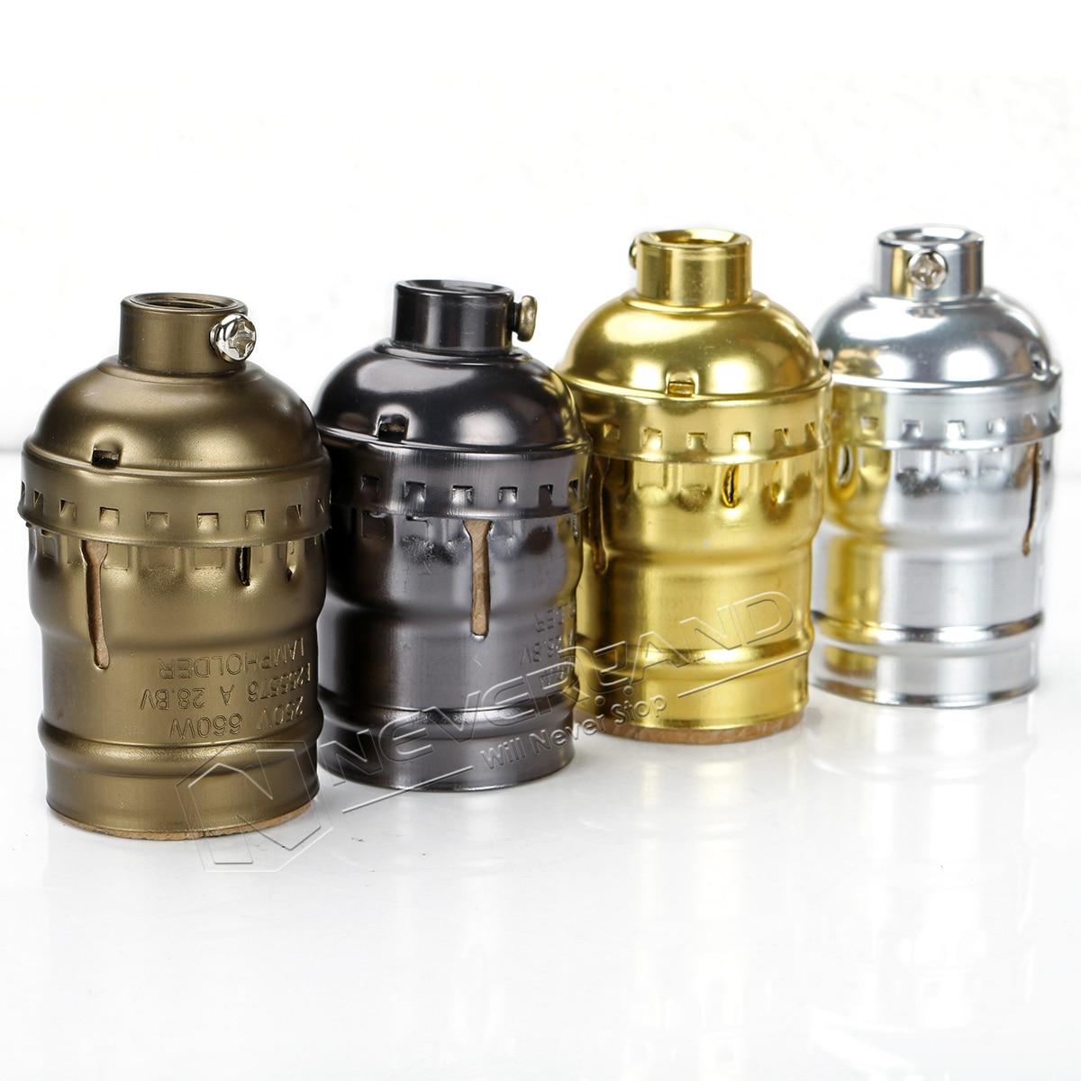 Classic Retro Edison Lamp Holder Socket E27 Bulb Base Pearl Black/Antique Brass/Gold/Silver E27 UL 110V/220V Light Socket
