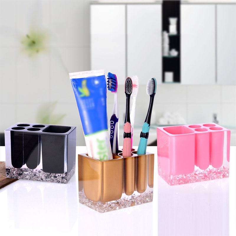 Fashion Crystal Transparent Toothbrush Holder Bathroom Wash Ware Kit Storage Rack Toothpaste Cosmetic Organizer Home Decor Craft image