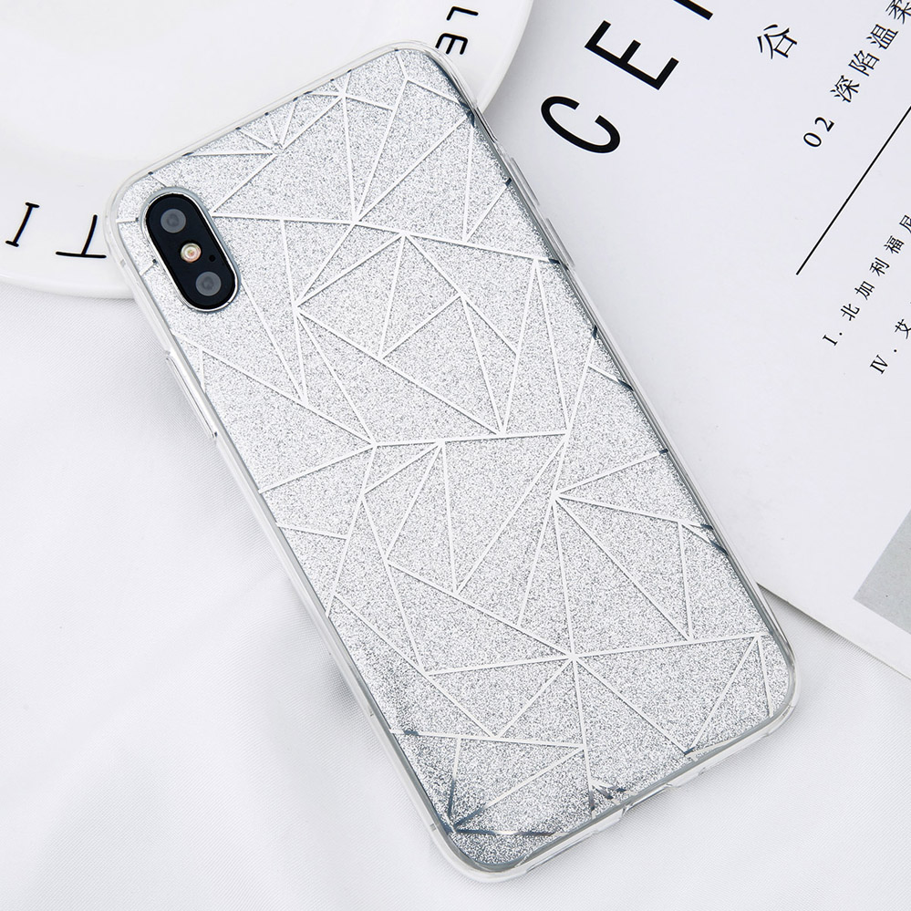 Electronics - Glitter Bling Powder Phone Case For iPhone X Geometric Lines Hard PC Back Cover Cases For iPhone 8 7 6 6s Plus 5 5s SE