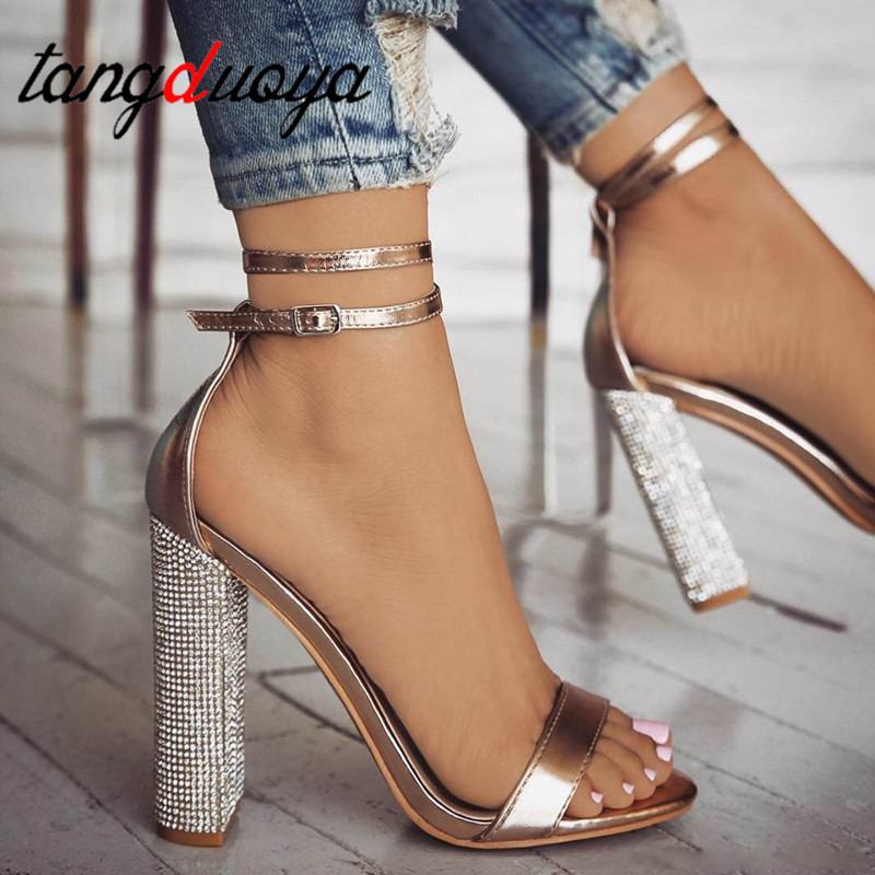 Shoes Women Sandals Buckle-Strap Rhinestone Heels Gold Plus-Size 35-43 Pu Sexy Classic