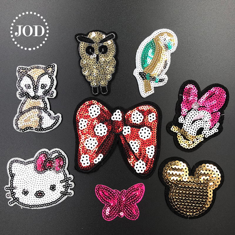 0701f7f40b0a JOD Cute Cartoon Brand Iron on Patches for Clothing Sequin Embroidery  Clothes Patch Applique Decorative Stickers Children Badges
