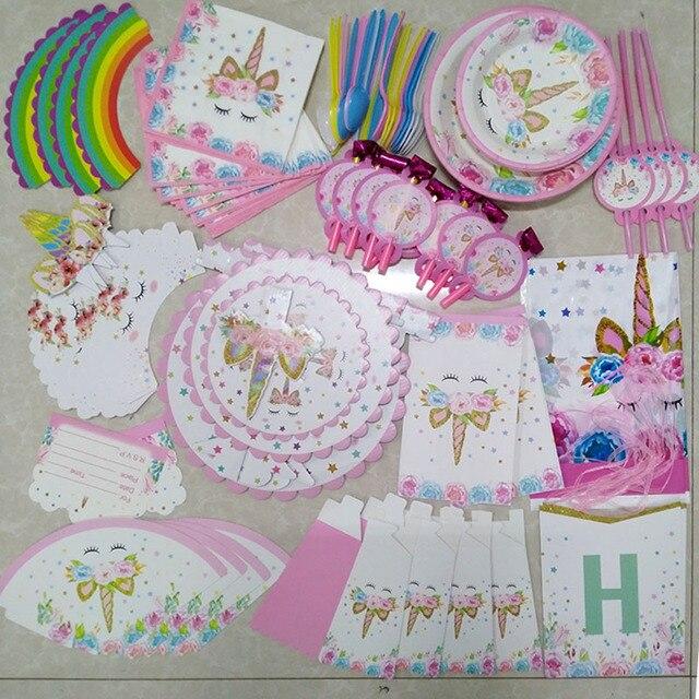Для празднования первого дня рождения Аксессуары для девушки мультфильм скатерть с единорогом бумажная салфетка для чашек баннер торт Топпер ребенок душ украшения
