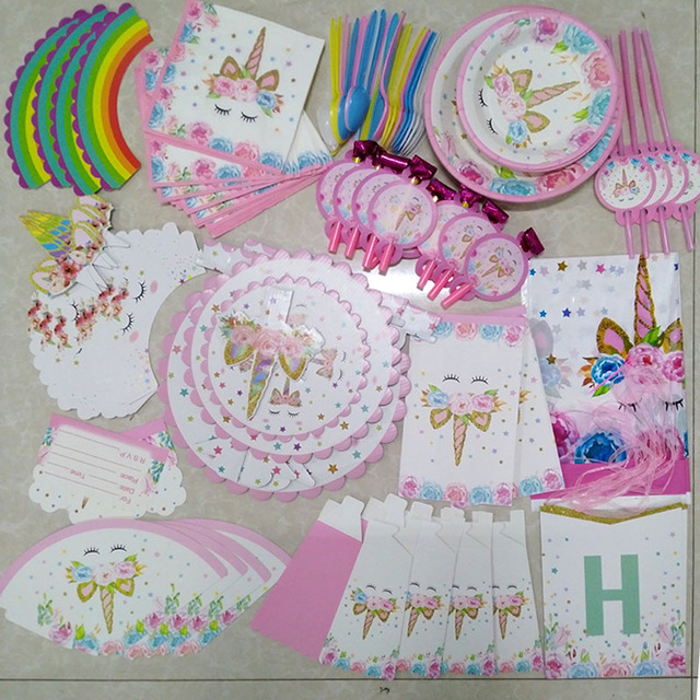 Unicorn Birthday Party Decoration Cartoon Paper Hat Napkins Plate Table Cloth Boy Girl First 1st Supplies