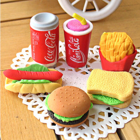 2015 Free shipping New Burger fries coke eraser students stationery removable rubber polishing erasers K6811